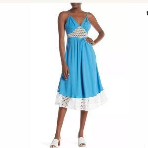 Line & Dot Delilah Eyelet Lace Paneled Midi Dress